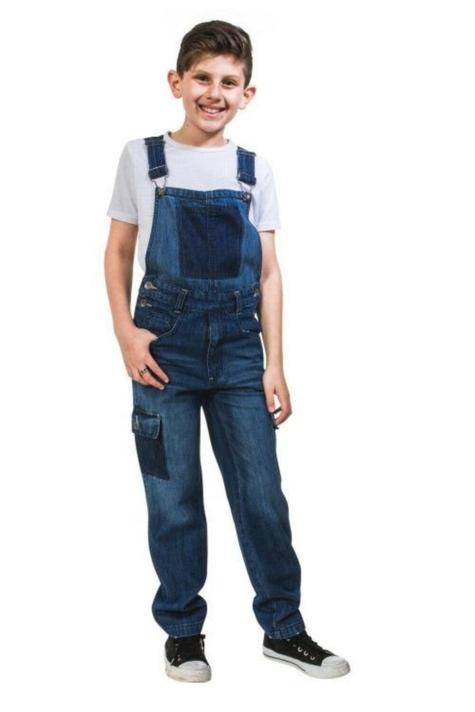 Full-length frontal view of kids distressed bib-overalls from Dungarees Online.