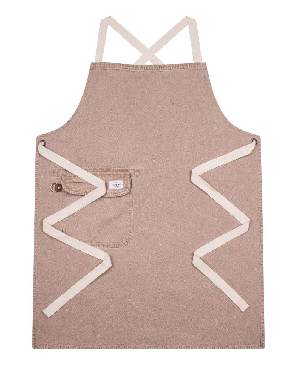 Full front 'Cholton' brand beige denim bib apron from Dungarees Online, with zig-zag of straps.