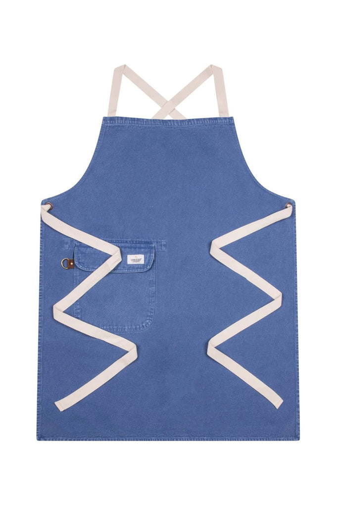 Full front 'Cholton' brand blue denim bib apron from Dungarees Online, with zig-zag of straps.