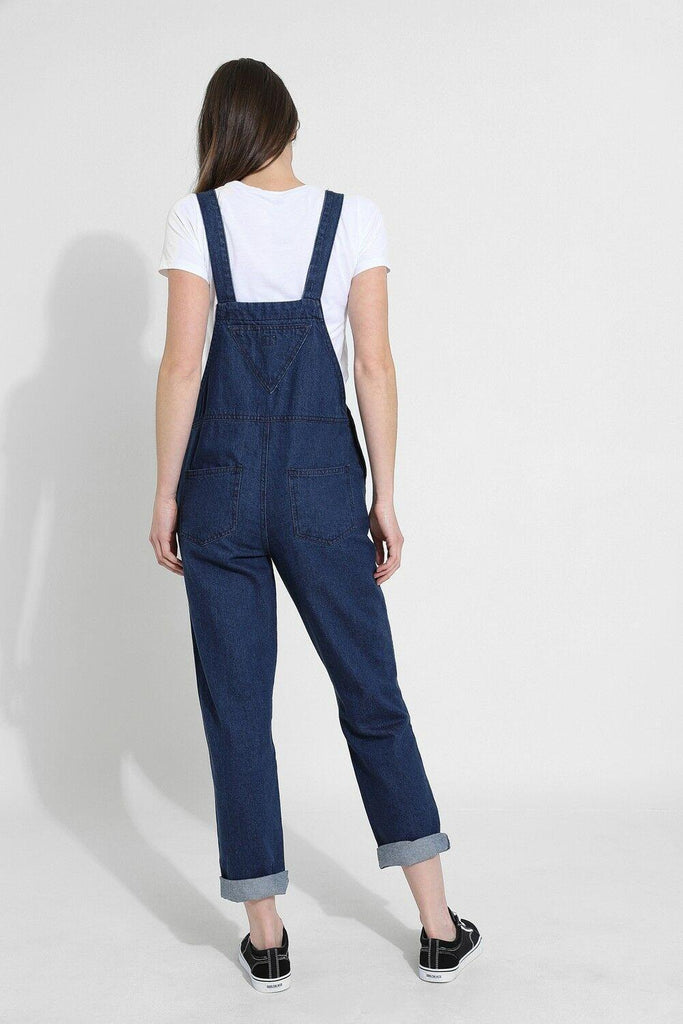 Full rear view of 'Courtney' ladies darkwash denim dungarees from Dungarees Online.