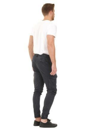 Angled rear view of 'Gareth' style, casual cotton mix cargo trousers from Dungarees Online, with view of belt loops and back pockets.