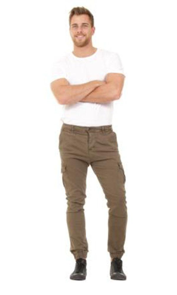 Full frontal view of 'Gareth' style, casual cotton mix cargo trousers in green with arms folded.