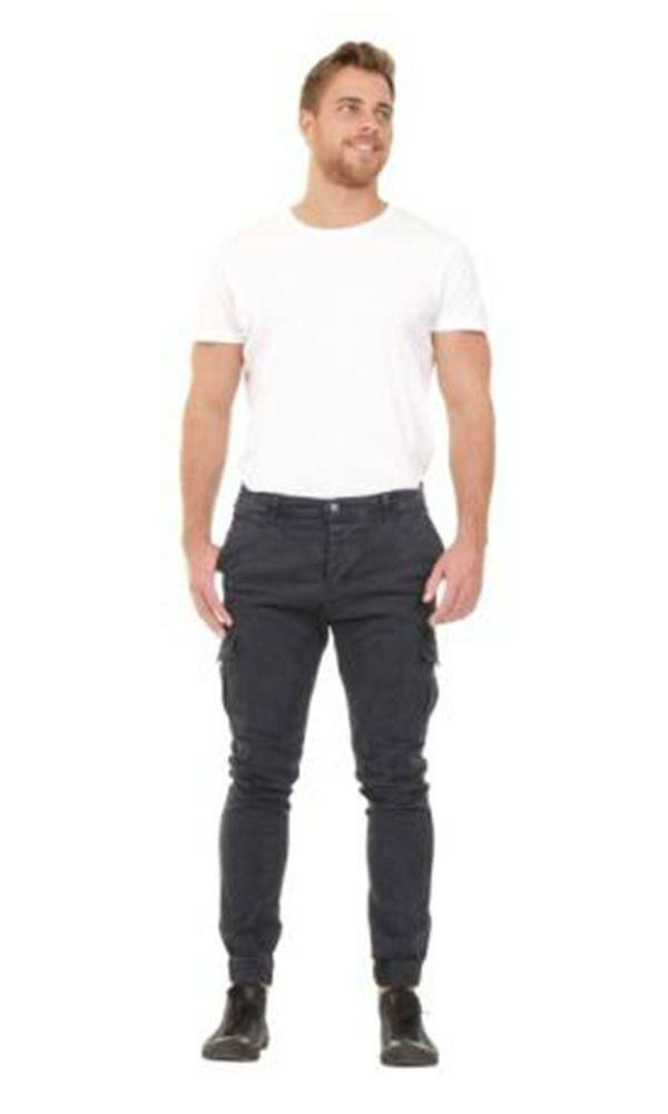 Full frontal view of 'Gareth' style, casual cotton mix cargo trousers in dark blue with arms folded.