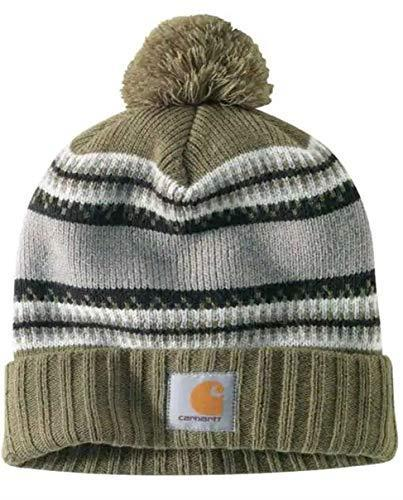Green rib knit Fair Isle Carhartt Rexburg CH103258 hat, with sewn Carhartt logo on front.