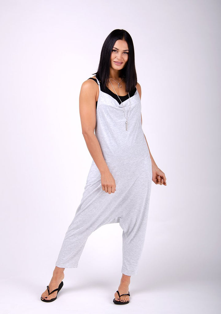 Full frontal pose wearing Cindy-style grey jersey jumpsuit.