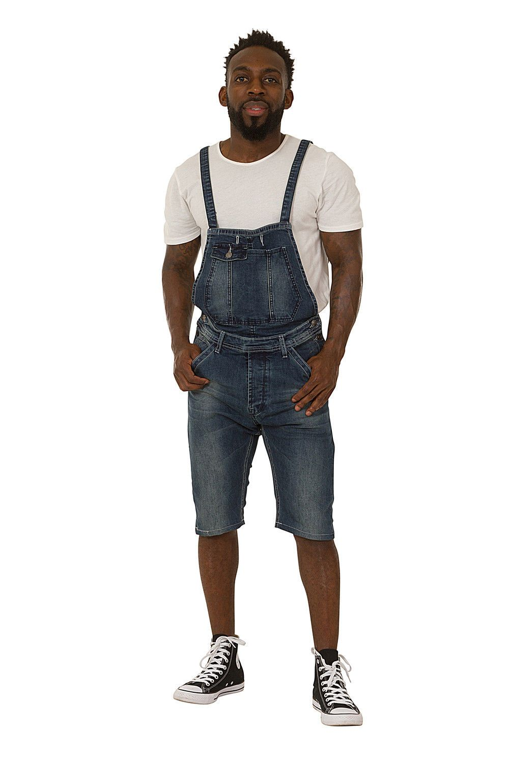 Full frontal pose wearing blue coloured dungaree shorts from Dungarees Online.