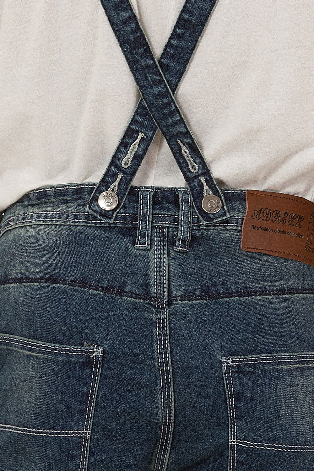 Close-up of strap fastening, back pockets and denim detailing from 'Guy' brand detachable bib dungaree shorts from Dungarees Online.