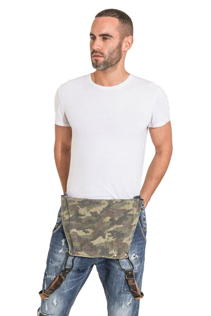 Top-half view of men's 'Lazlo' dungarees with bib down, revealing camouflage lining and a closer look at detachable, adjustable camo braces.