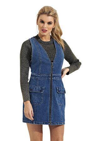 Top-half frontal of pinafore jean dress from Dungarees Online.
