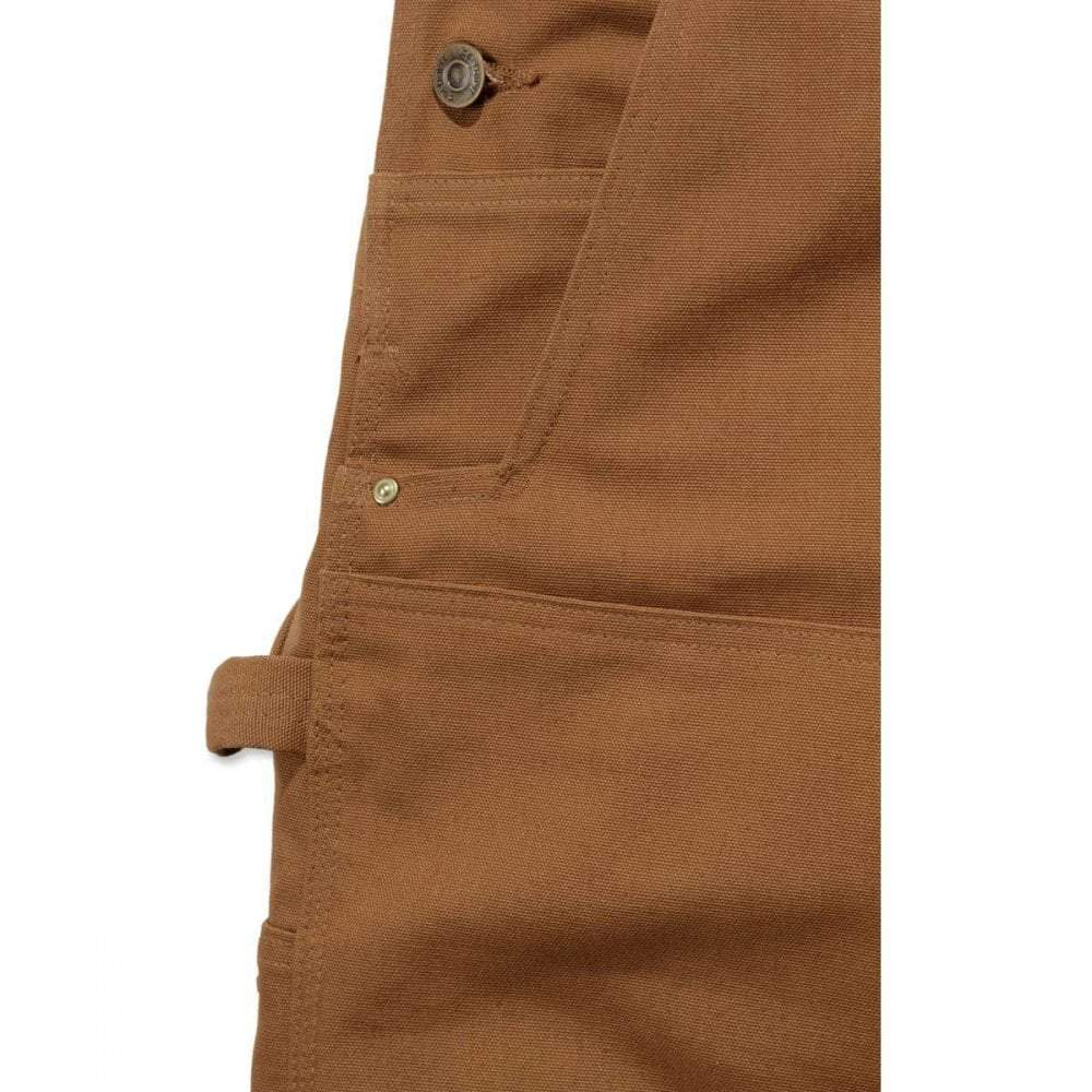 Various pockets on Carhartt brown dungarees.