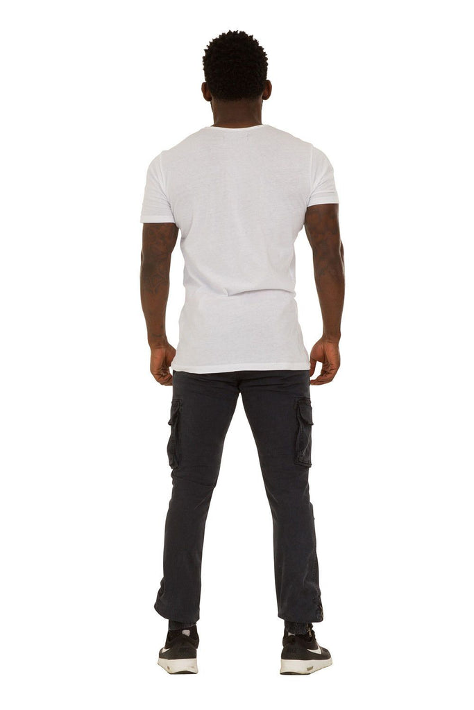 Rear view of 'Jacob' style, casual cotton mix cargo trousers from Dungarees Online.