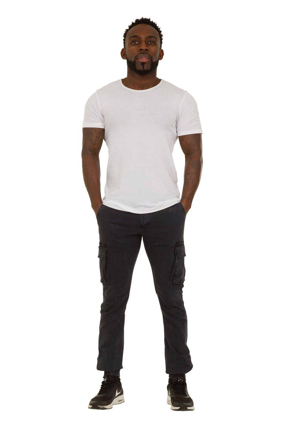 Full frontal view of 'Jacob' style, casual cotton mix cargo trousers in navy with view of elasticated ankle.
