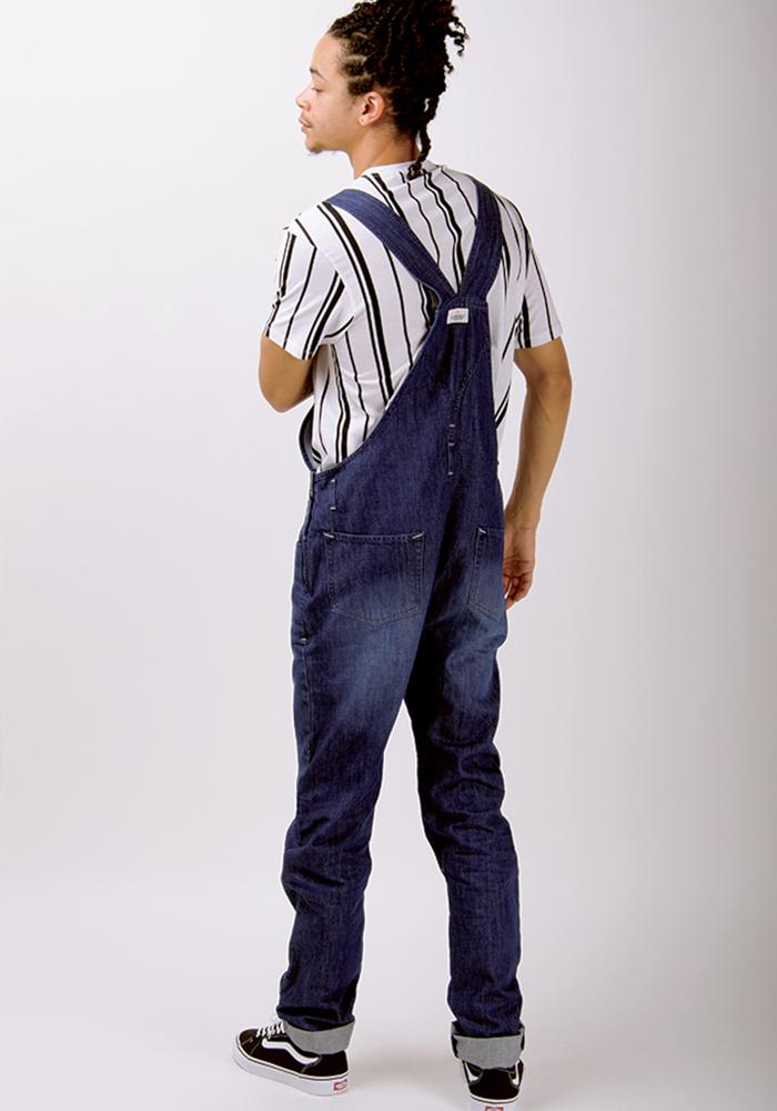 Full back view of 'Jesse' brand darkwash dungaree with view of cross back straps, back pockets and belt loops.