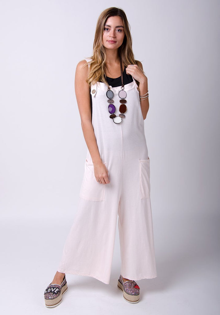 Amber-style, light pink cotton jersey, wide-leg overall. Front, full-length pose.