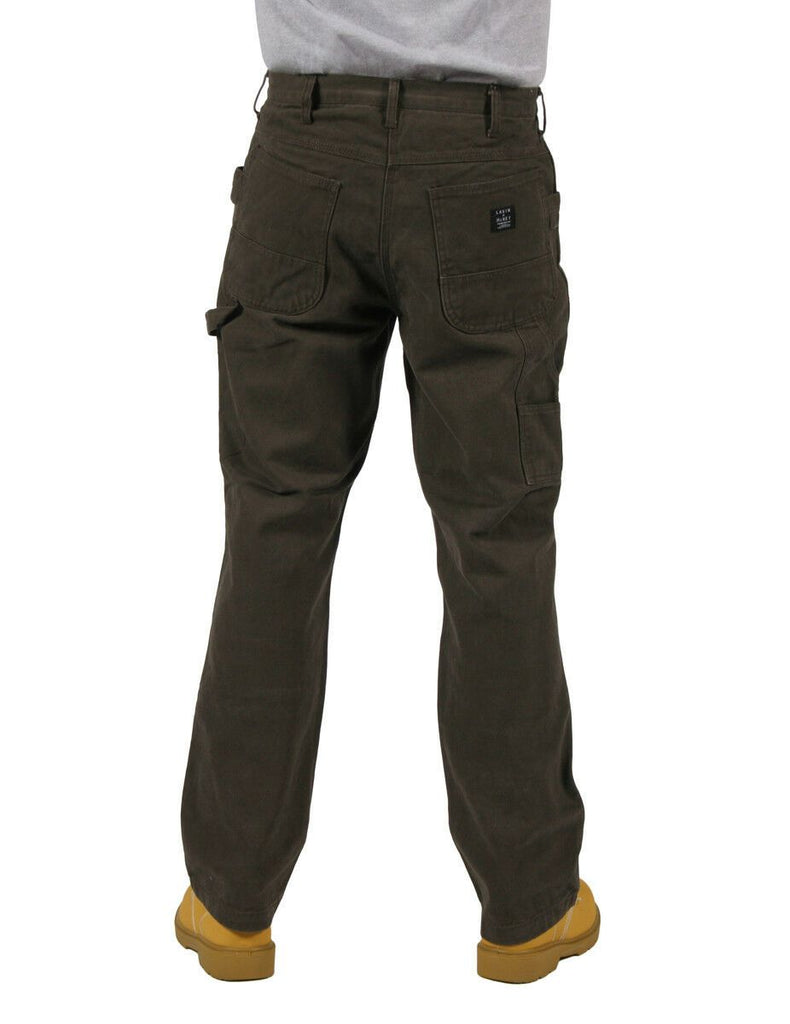 Rear view of brown work trousers, showing rear pockets and belt loops.