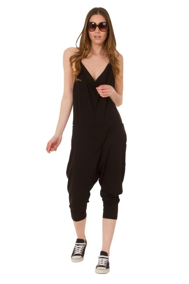 Full frontal motion shot wearing Cindy-style black jersey jumpsuit.