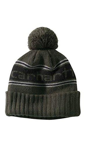 Olive green rib knit Carhartt Rexburg CH102296 hat, showing knitted Carhartt logo.