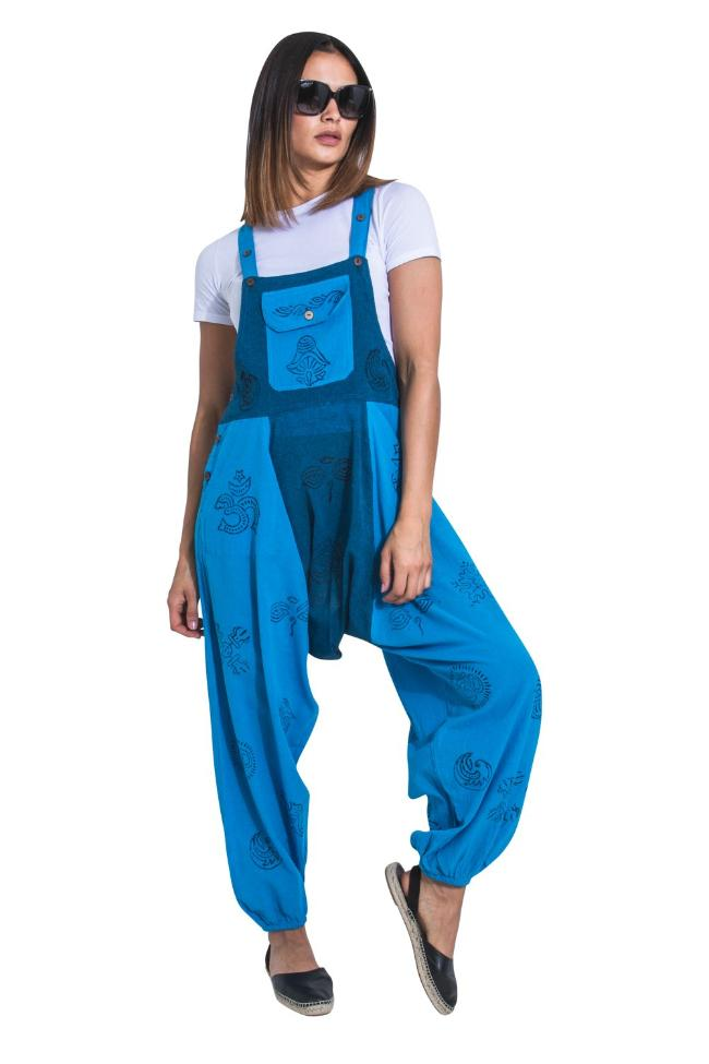 Full-length frontal of 'Opel' style, loose-fitting, blue cotton bohemian-style bib-overalls from Dungarees Online.