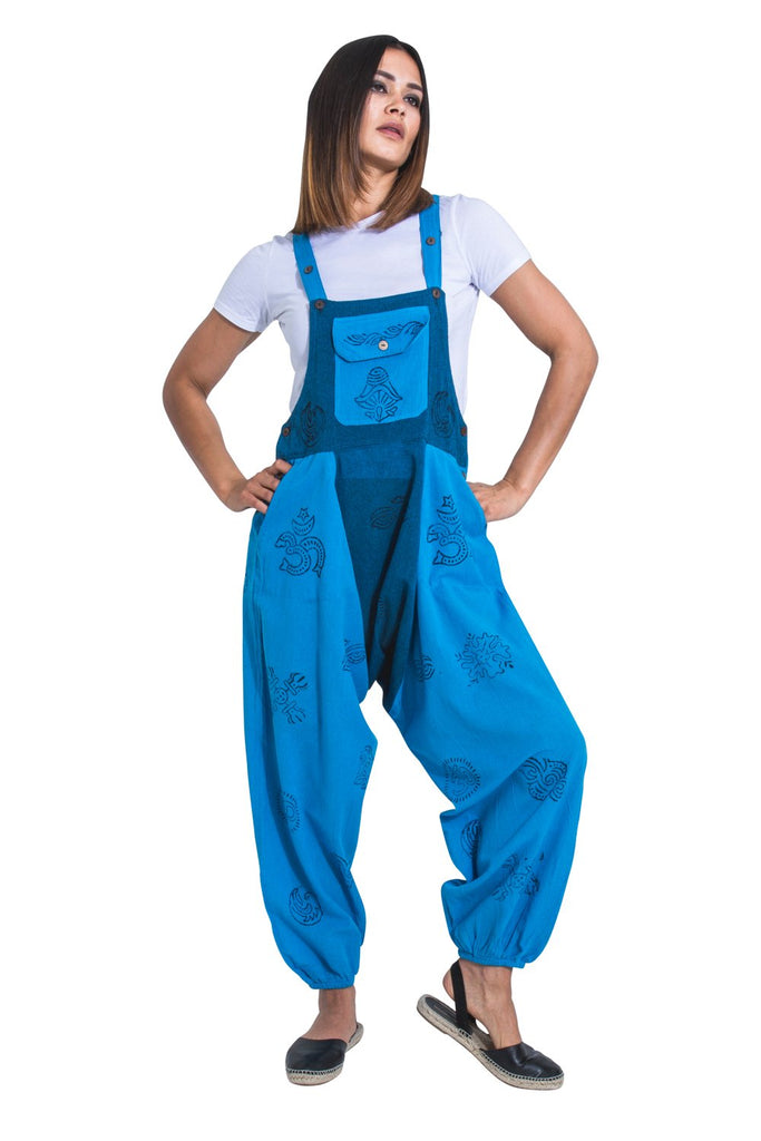 Full-length frontal of blue 'Opel' style baggy harem dungarees with elasticated ankles and bib pockets.