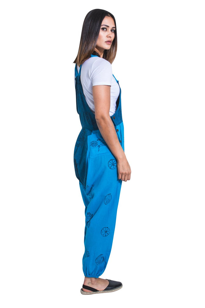 Full-length side view of dark and light blue lightweight bib-overalls with side buttons.
