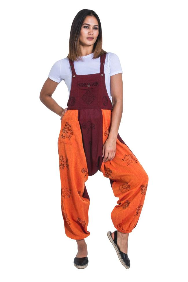 Full-length frontal of orange-burgundy 'Opel' style baggy harem dungarees with elasticated ankles and bib pockets.