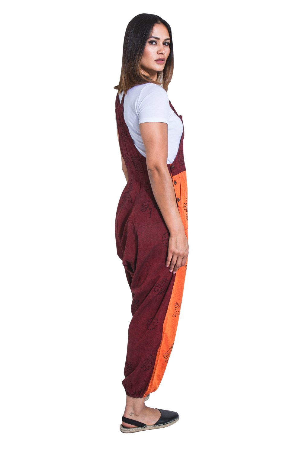 Full-length side view of orange and maroon lightweight bib-overalls from Dungarees Online.