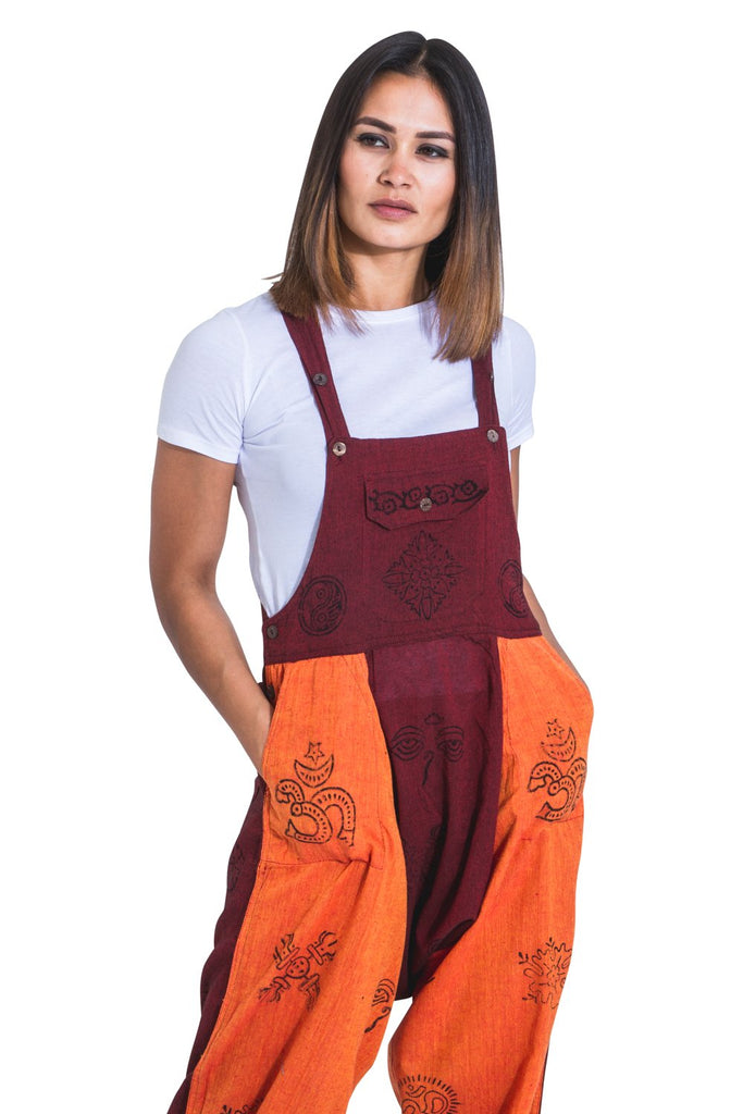 Top-half view of Nepalese, hippy-style, relaxed fit dungarees showing functional pockets and adjustable straps.