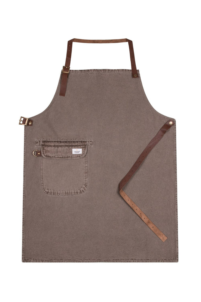 Full front 'Cholton' brand brown denim bib apron from Dungarees Online.