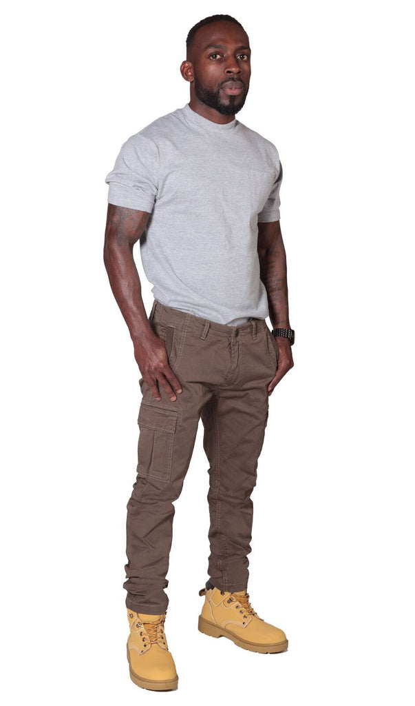 Full slightly angled front view of mid-brown slight-stretch cotton mix combat trousers with view of front cargo pockets.