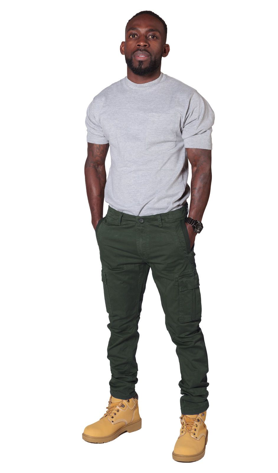 Full slightly angled front view of mid-khaki slight-stretch cotton mix combat trousers with view of front cargo pockets.
