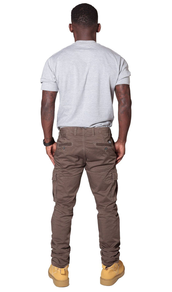 Rear view of 'Pete' style, casual cotton mix cargo trousers in brown with view of back pockets from Dungarees Online.
