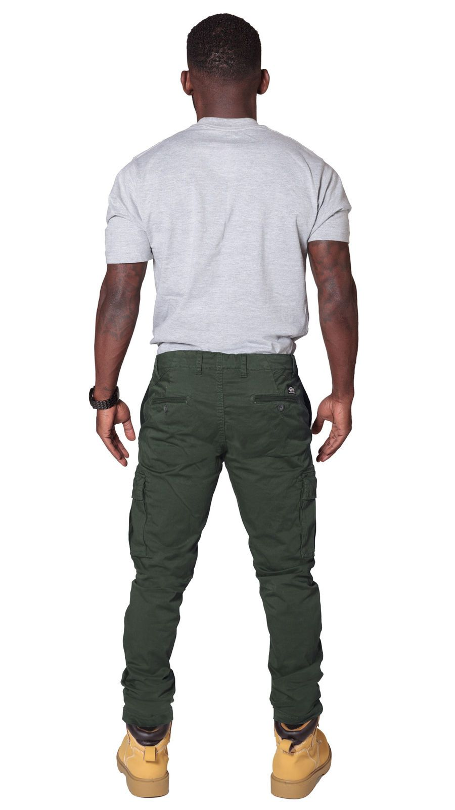 Rear view of 'Pete' style, casual cotton mix cargo trousers in khaki-green with view of back pockets from Dungarees Online.