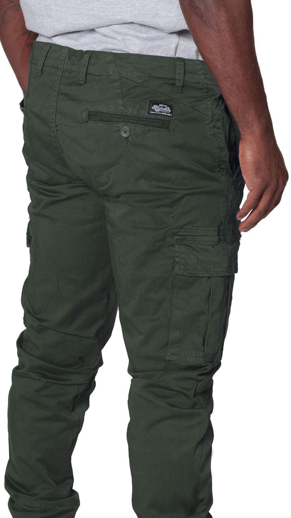 Angled rear focus of cargo trousers, with clear view of stitching, rear and cargo pockets and slightly stretchy khaki-green material.
