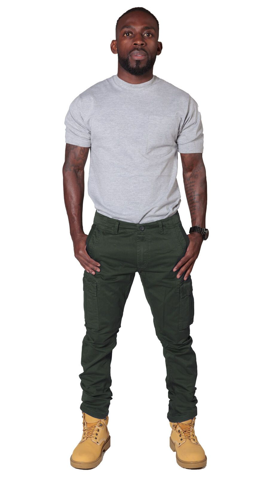 Full frontal view of 'Pete' style, casual cotton mix cargo trousers in khaki with thumbs in front pockets and view of belt loops and zip fly.