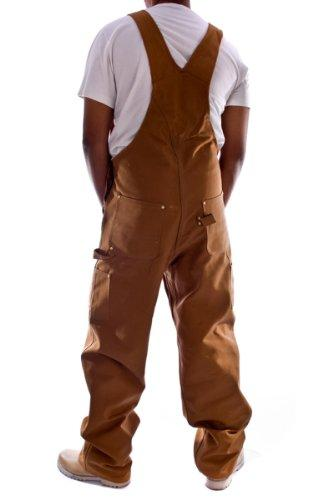 Rear pose with thumbs in reinforced pockets, wearing Carhartt R01 brown denim dungarees.
