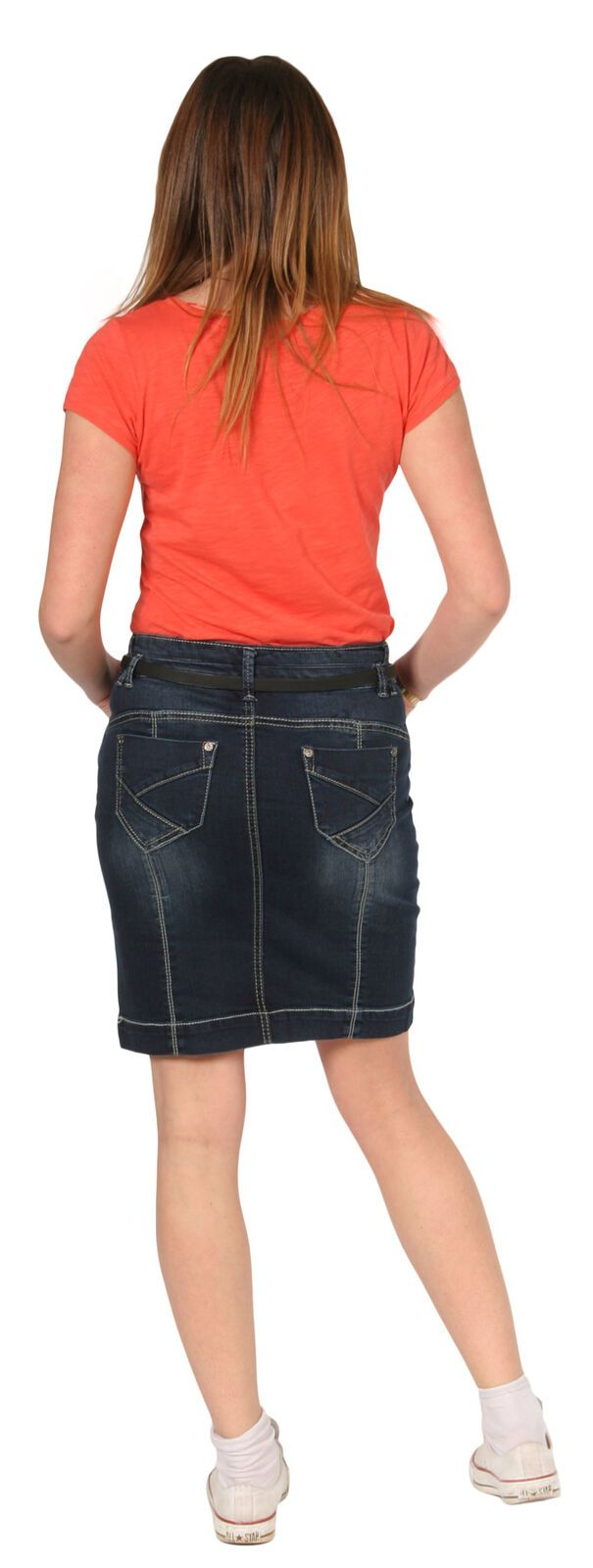 Full length back view of soft, medium weight, slightly stretchy denim skirt with view of rear pockets.