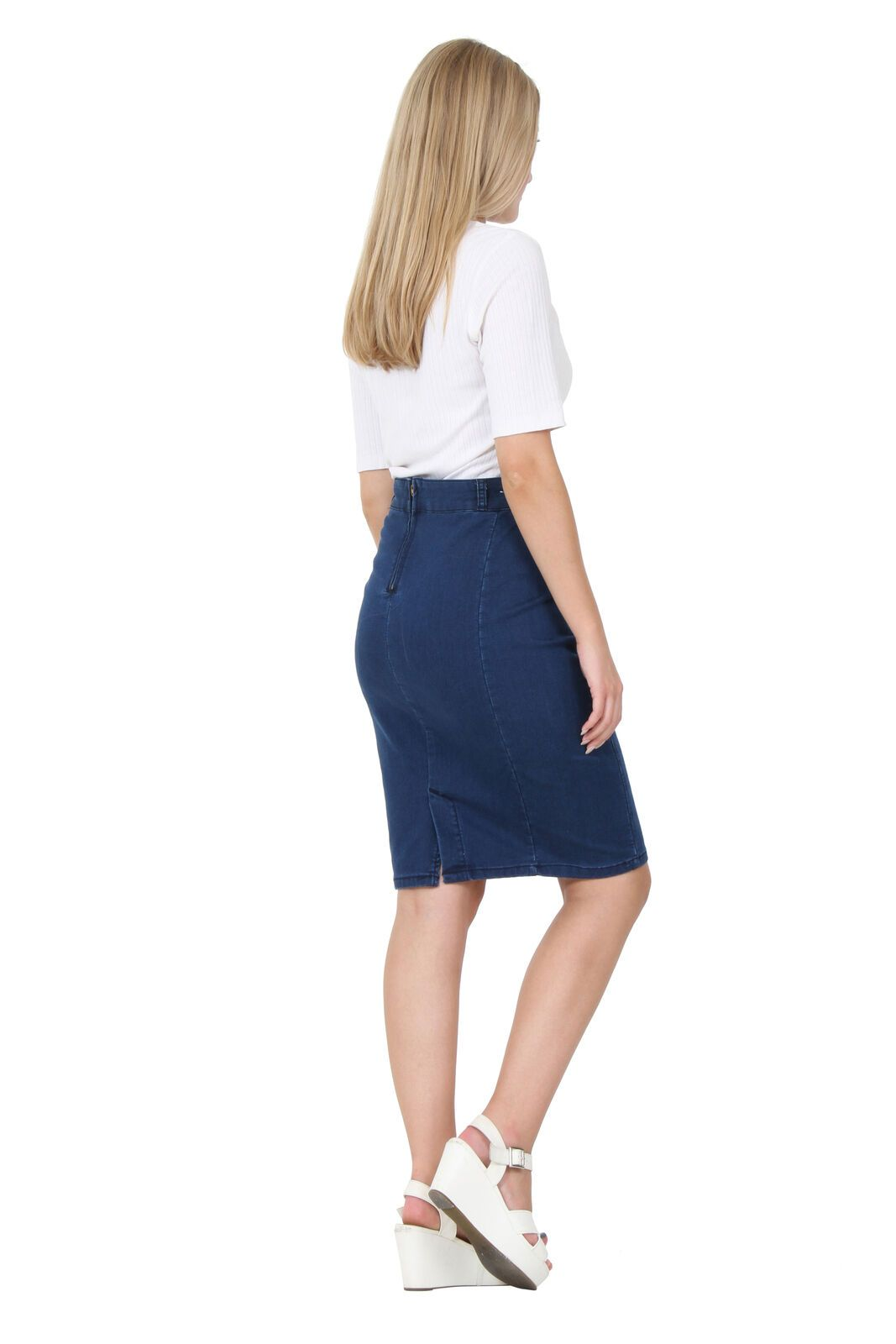 Angled rear-side view of soft, medium weight, slightly stretchy denim skirt with view of back zip, back spit and belt loops.