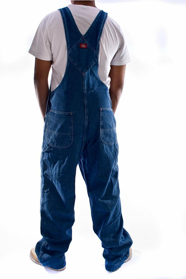 Back view of Dickies soft 12oz stonewash denim dungarees, detailing triple stitched seams and cross over high back.