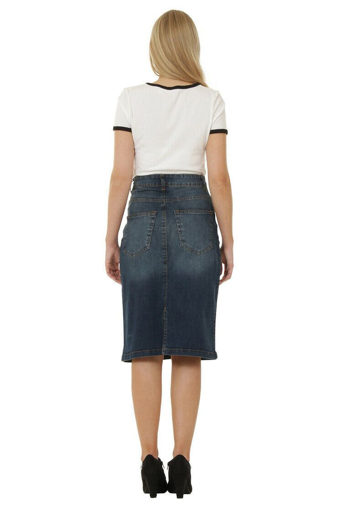 Full-length back of stretch vintagewash denim skirt from Dungarees Online.