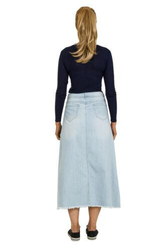 Side view of distressed 'Jolene' style polyester-cotton mix denim skirt from Dungarees Online.