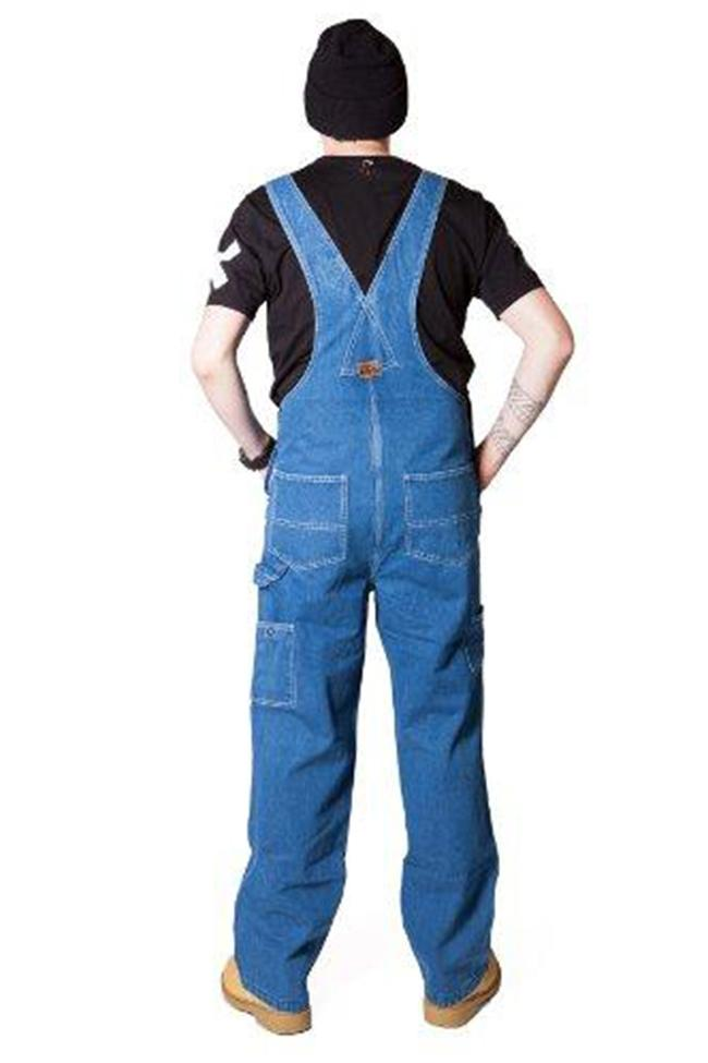 Rear pose wearing 'Big Smith' brand stonewash bib overalls from Dungarees Online.