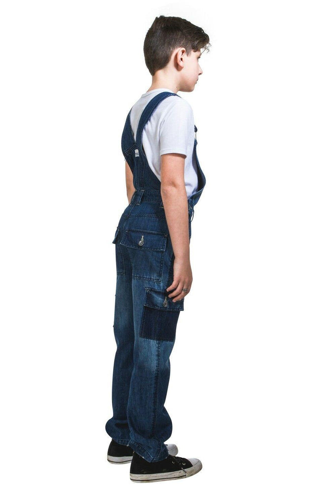 Full-length side-rear view of distressed and deconstructed cargo-pocket dungarees for boys and girls.