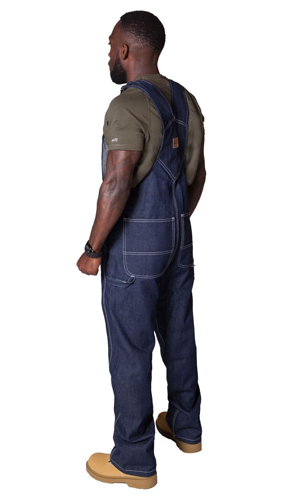 Rear pose wearing 'Berne' brand bib overalls from Dungarees Online.