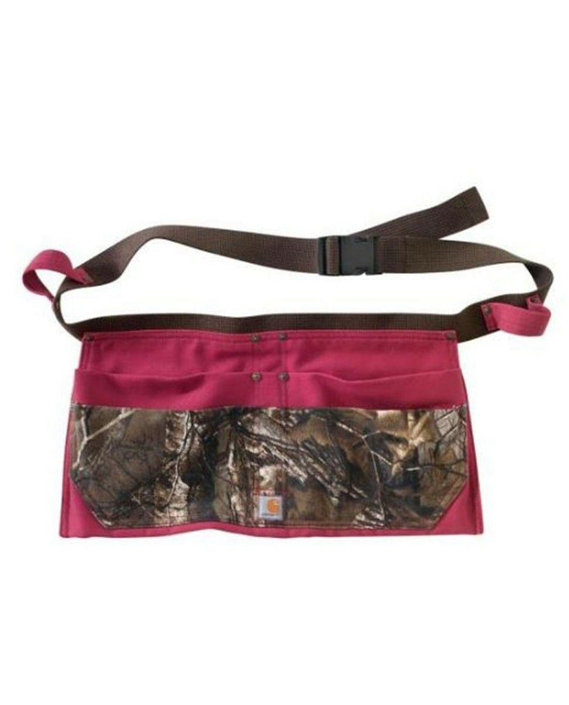 Carhartt 4 pocket ladies work apron showing adjustable nylon belt with quick release buckle.