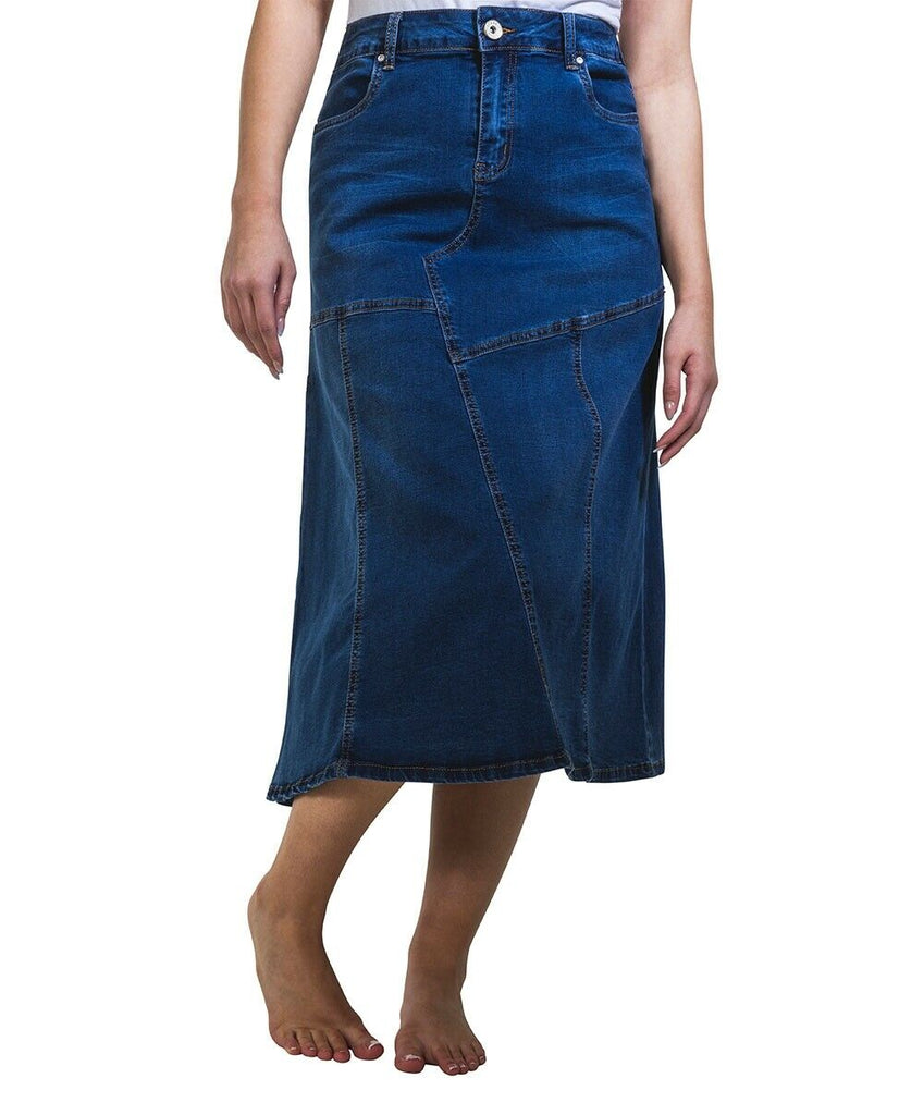 Stretch Denim Flared Midi Skirt Panelled Jean Skirt