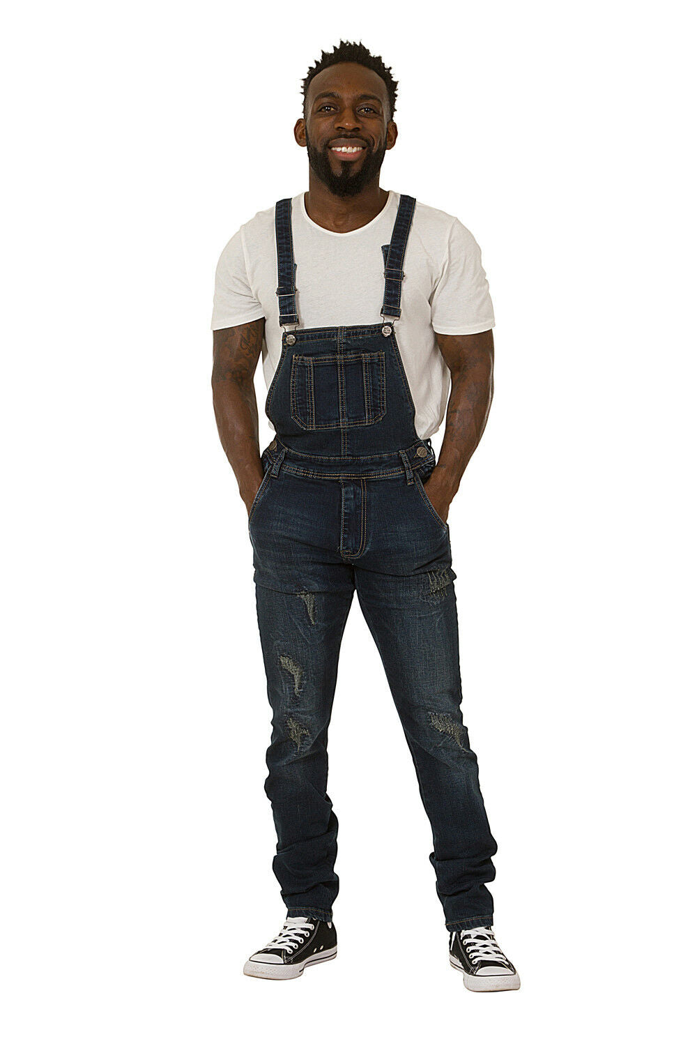 Mens Bib Down Dungarees – Dark Wash Denim Slim Fit