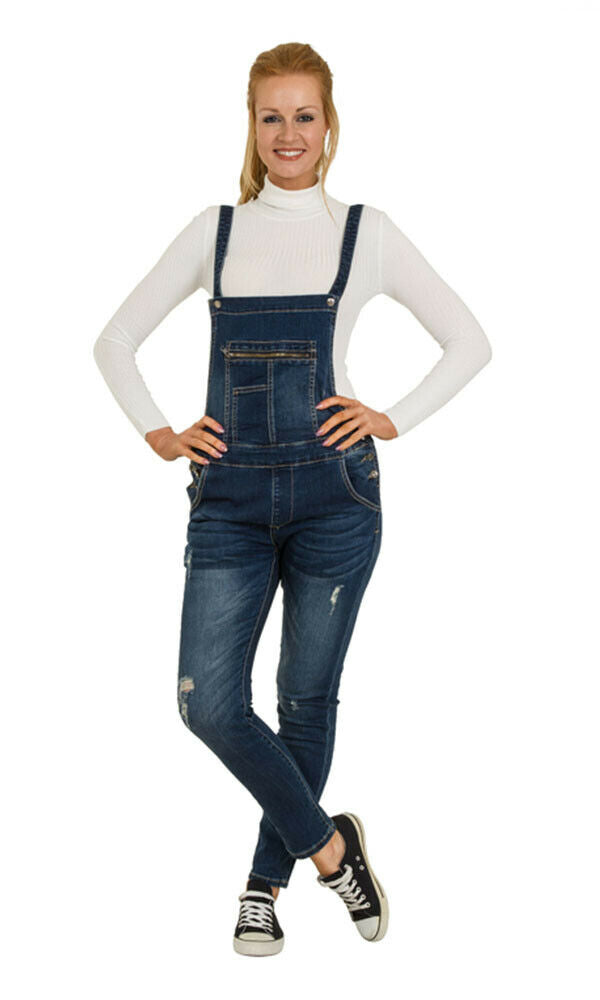 Skinny Fit Ladies Distressed Denim Dungarees - Abrasion Detail