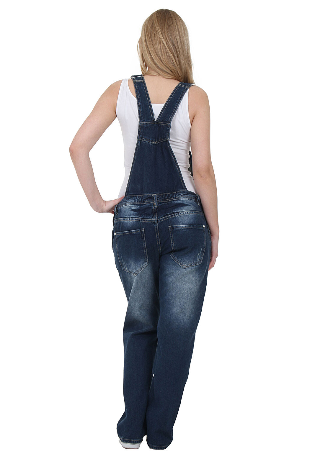 Womens Denim Dungarees - Indigo