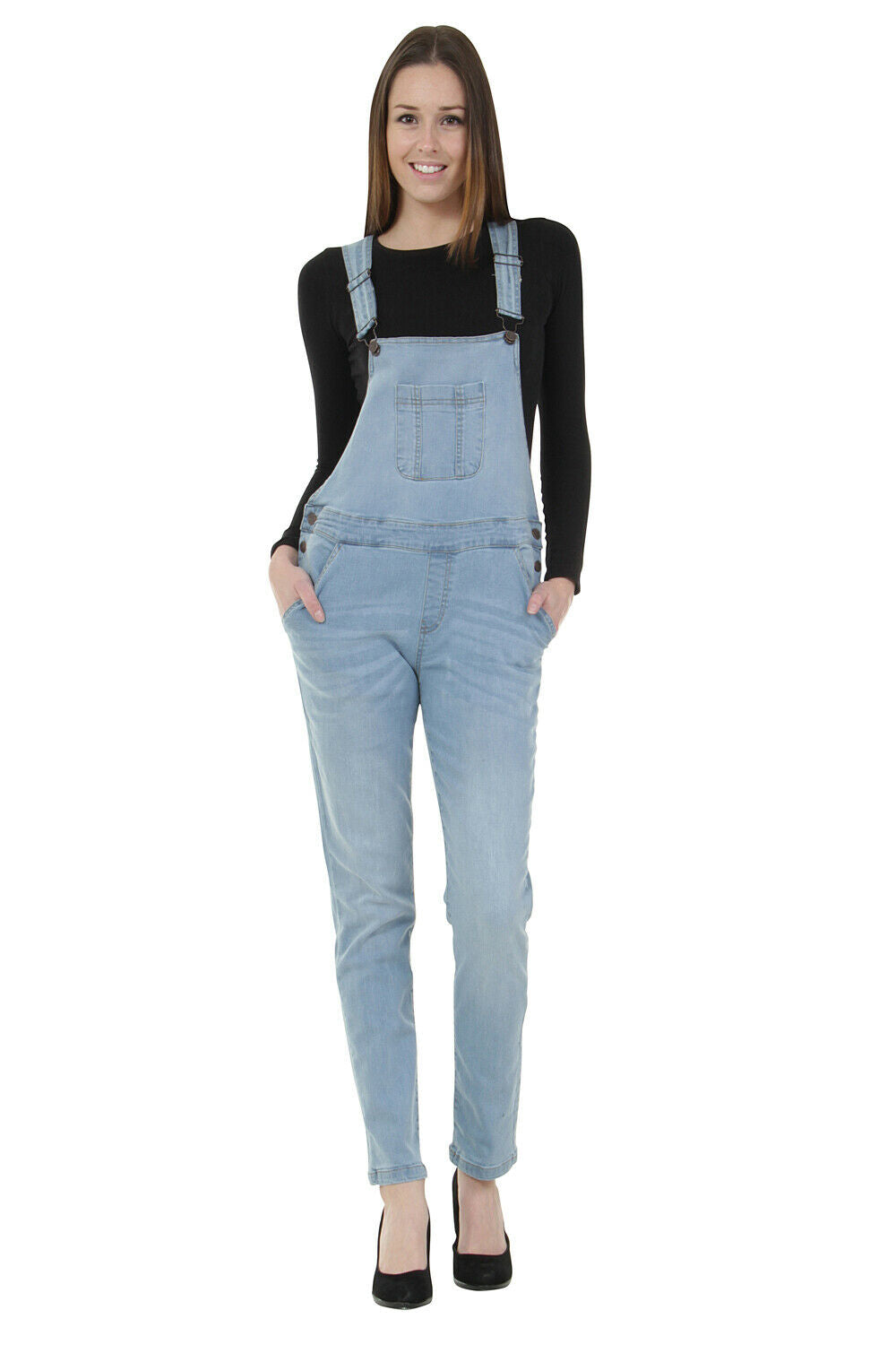Womens Basic Denim Dungarees Regular fit - Lightwash