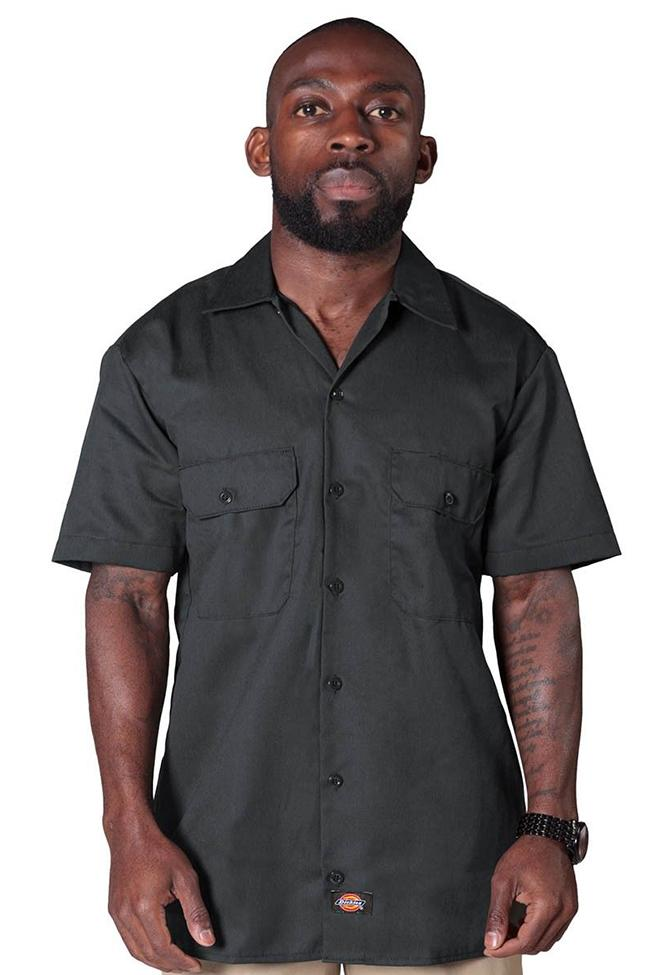 Front view wearing charcoal, Dickies short sleeve 1574 work shirt.